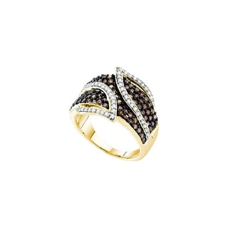 10k Yellow Gold Cognac-brown Colored Round Diamond Womens Cocktail Band Ring 1.00 Cttw - Brown/White