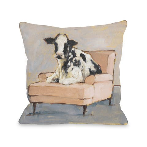 Moo-ving In - Multi Throw Pillow by Ethan Harper