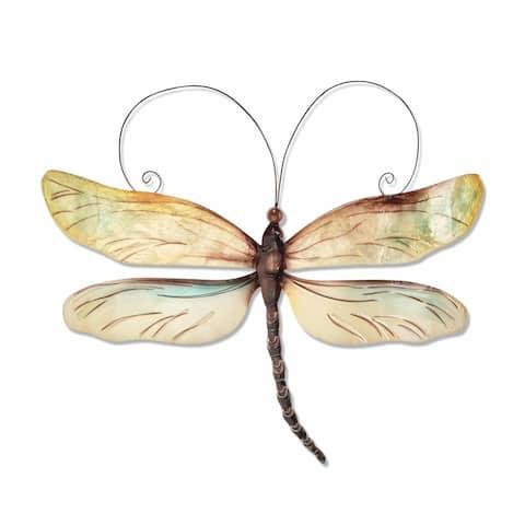 Handmade Metal and Capiz Dragonfly Wall Decor