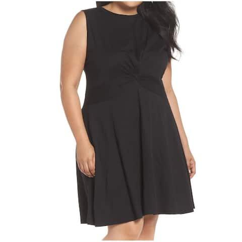 Caslon Black Twisted Knot Front Women's Size 3X Plus Sheath Dress