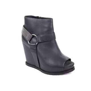 Brunello Cucinelli Womens Grey Beaded Monili Peep Wedge Ankle Boots