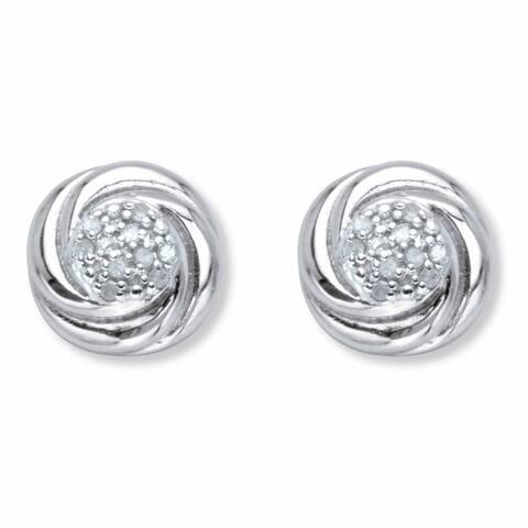 Platinum over Silver Round Genuine Diamond Love Knot Stud Earrings