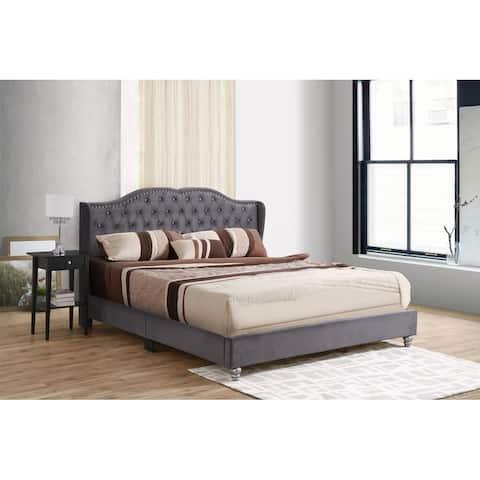 Joy Jewel Tufted Velvet Upholstered Bed