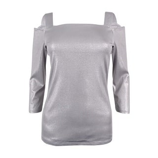 INC International Concepts Women's Metallic Cold-Shoulder Top - Silver