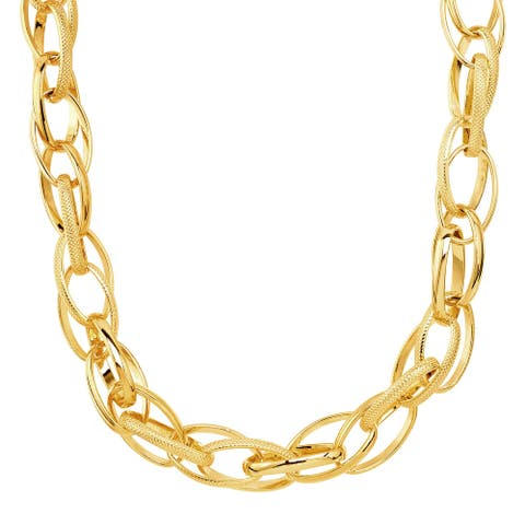 """Italian-Made Oval Link Chain Necklace in 18K Gold Plated Bronze, 18"""" - Yellow"""