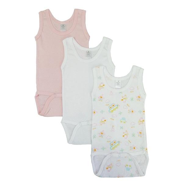 Baby Girl's White, Printed, Pink Rib Knit Sleeveless Tank Top Bodysuit 3 Pack