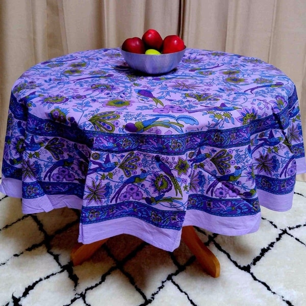 "Handmade Birds of Paradise 100% Cotton Floral Tablecloth 66"" Round Purple"