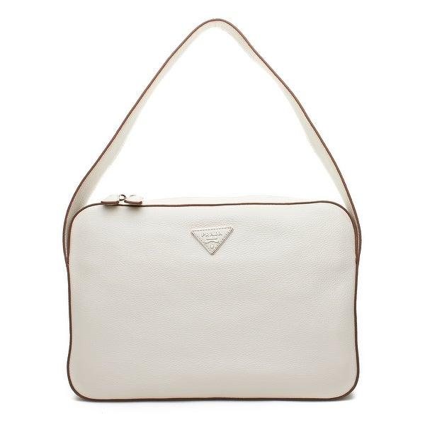 510010beb8a7 Shop Prada Vitello Daino Leather Shoulder Handbag - White - Free ...