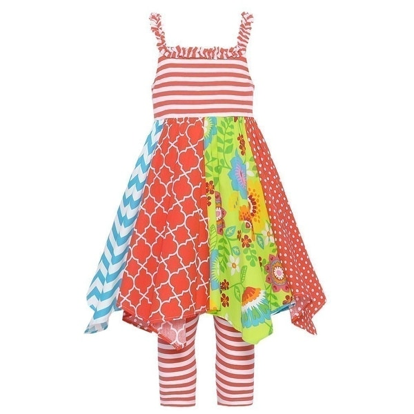 Baby Girls Coral Red Mixed Pattern Angled Hem Dress 12M