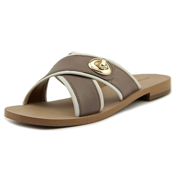 Coach Coral Women Open Toe Leather Brown Slides Sandal