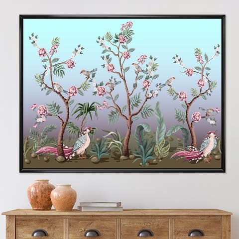 Designart 'Chinoiserie With Birds and Peonies II' Traditional Framed Canvas Wall Art Print