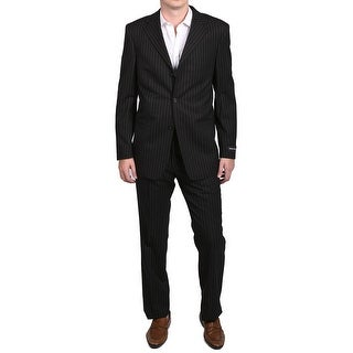 Versace Classic Pinstripe Men's Two-Piece Wool Suit Black/White