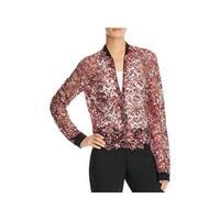 Elie Tahari Womens Glenna Jacket Floral Lace Contrast Trim