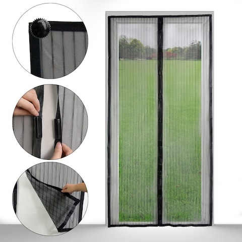 Magnetic Mosquito Mesh Screen Door Heavy Duty Mesh & Hands Free Magnetic Magic Closer