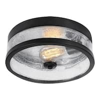 "Globe Electric 69999 Carolina 11"" Wide Flush Mount Ceiling Fixture with Seeded Glass - Dark Bronze - N/A"