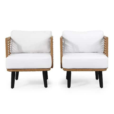 Nic Outdoor Wicker Club Chair with Water Resistant Cushion (Set of 2) by Christopher Knight Home