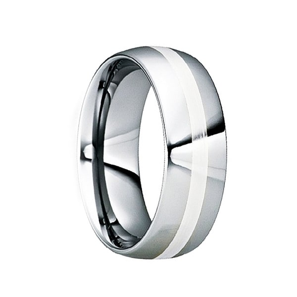 VALENTINIANUS Tungsten & Silver Inlaid Wedding Ring with Polished Finish by Crown Ring - 6mm