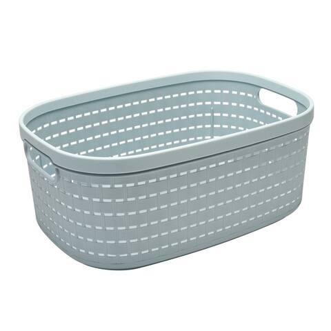 Simplify Large Wicker Weave Design Storage Tote Basket in Blue