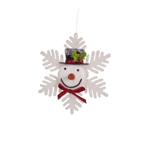 "7.75"" Glittered Snowflake Snowman with Red Bow Tie Decorative Christmas Ornament"