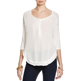 We The Free Womens Henley Top Cotton Burnout