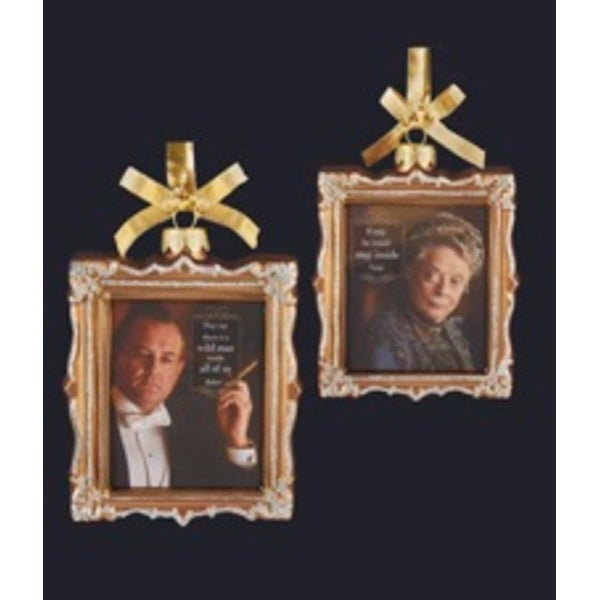 "4"" Downton Abbey Gold Glass Robert Crawley and Violet Crawley Picture Frame Christmas Ornament"