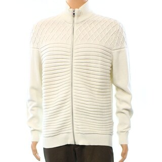 INC NEW Solid White Ivory Mens Size Large L Full-Zip Ribbed Sweater