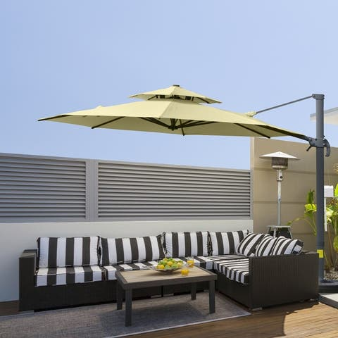Outsunny 11ft Outdoor Rotatable Sun Shade Market Umbrella with Adjustable Angle & Double-Top Canopy