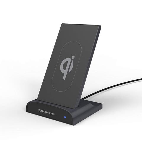 Scosche Qi Dock Wireless Charging Dock with Portable Power Bank with USB Charging Port - Black