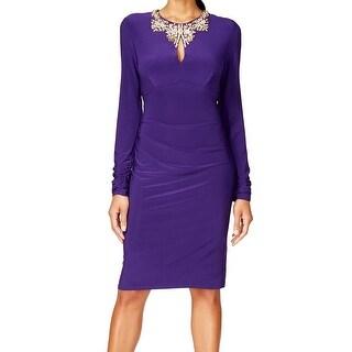 Vince Camuto NEW Purple Women's 4 Jeweled-Keyhole Ruched Sheath Dress