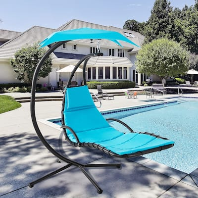 Futzca Outdoor Patio Hanging Curved Chaise Lounge Chair Floating Lounge Hammock Chair Swing - N/A