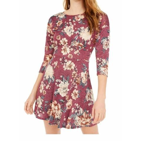 Be bop Skater Dress Red Multi Size Medium M Junior's Floral 3/4 Sleeve