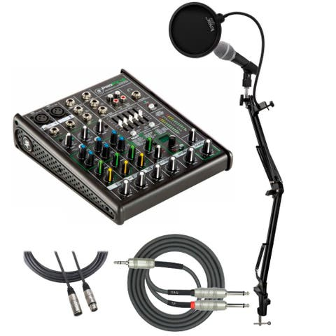 Mackie ProFX4v2 4-Ch Mixer with Mic, Mic Stand, Pop Filter and Cable