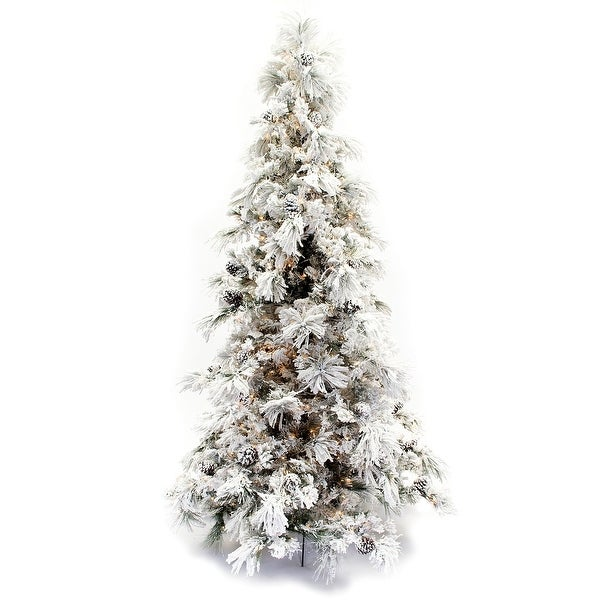 9-foot Flocked Long Needle Snowy Pine Christmas Tree. Opens flyout.