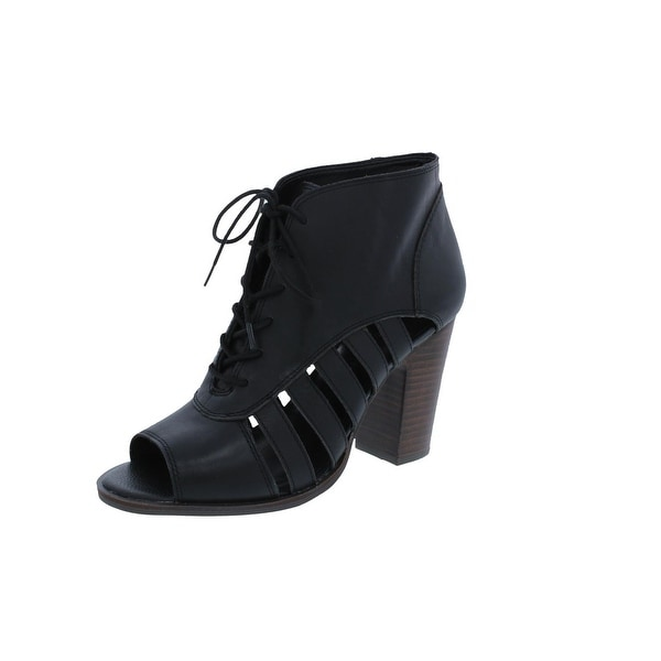 Lucky Brand Womens Linnza Booties Open Toe Lace-Up