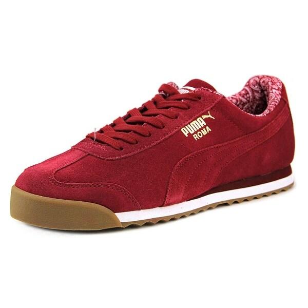 a02d2d974 Shop Puma Roma Suede Paisley Men Round Toe Suede Burgundy Sneakers ...