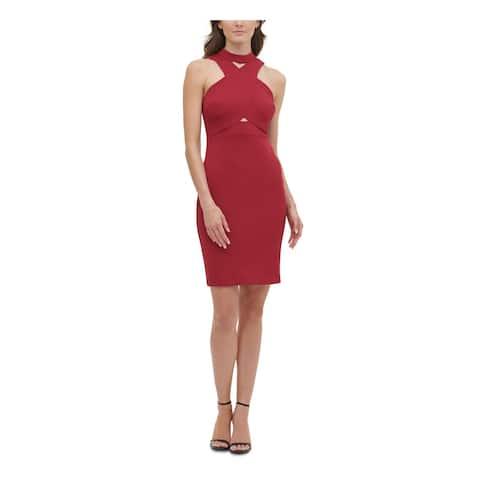 GUESS Womens Burgundy Sleeveless Short Sheath Cocktail Dress Size 2