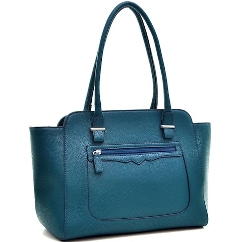 Dasein Faux Leather Shoulder Bag with Front Zipper Pocket