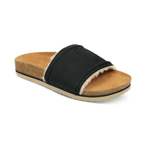 Tommy Hilfiger Womens Gala Faux Fur Open Toe Casual Slide Sandals