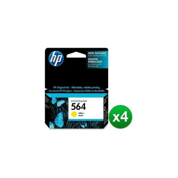 HP 564 Yellow Original Ink Cartridge (CB320WN)(4-Pack)
