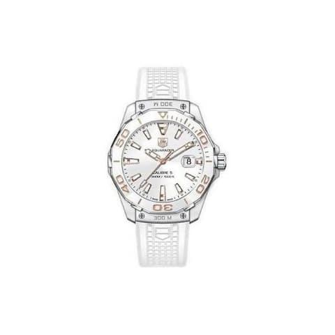 Tag Heuer Women's WAY111E.FT6043 'Aquaracer' White Rubber Watch