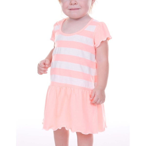 Kavio! Infants Girls Striped Jersey Scoop Neck Flutter Sleeve Dress Striped