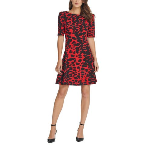 DKNY Womens A-Line Dress Red Black Size 2 Puff-Sleeve Printed Seamed