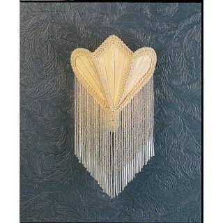 Meyda Tiffany 14395 Fabric and Fringe Night Light with Tulip Shaped Cream Fabric Shade