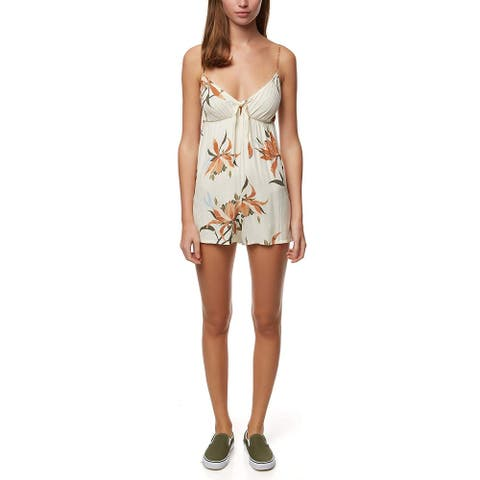 O'Neill Women's Romper Yellow Size Medium M Tropical Print Front-Tie
