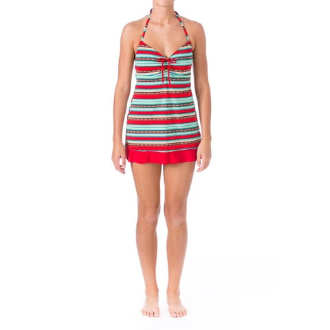 Mainstream Womens Striped Halter Swimdress
