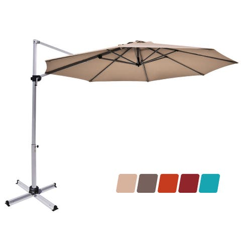 Costway 11' Patio Cantilever Offset Umbrella 360 degrees Rotation