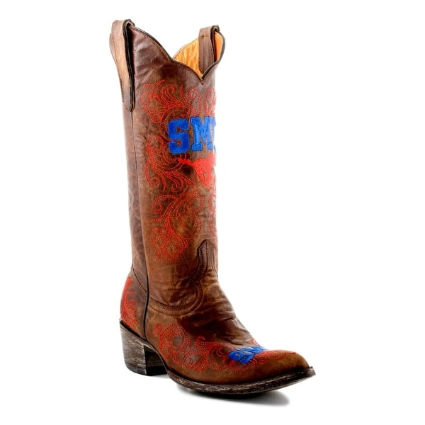 Gameday Boot Women College Southern Methodist Mustang Brass