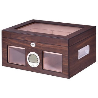 Costway 50-100 Cigar Humidor Storage Box Desktop Glasstop Humidifier Hygrometer Lockable - Walnut