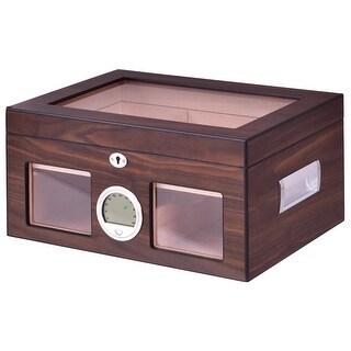 Costway 50 75 Cigar Humidor Storage Box Desktop Glasstop Humidifier  Hygrometer Lockable