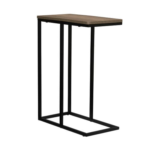 Household Essentials Modern Minimalist Side Table with Metal Frame, Weathered Gray